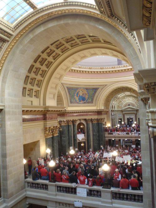 Protestors inside cap