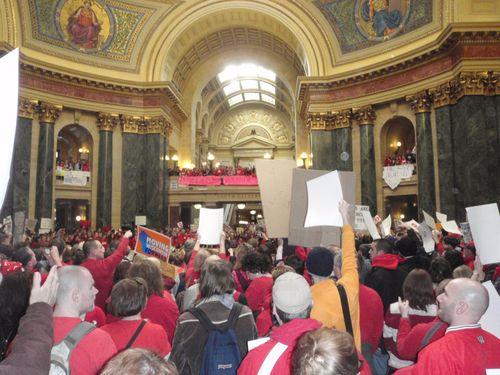 Protestors on the ground floor