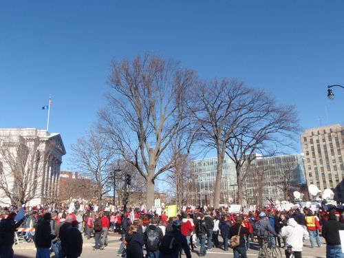 Protestors outside of capitol 2.19